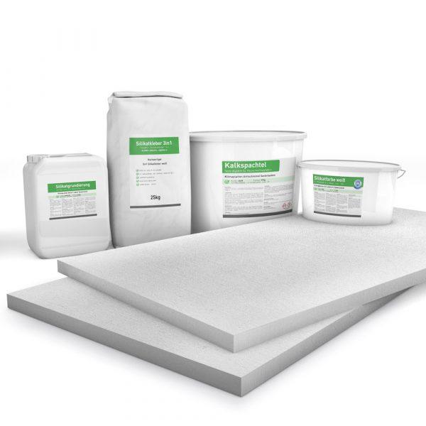 Kombi Sparpack P4 mit 25mm Kalziumsilikatplatten, Silikatgrundierung, Silikatkleber, Kalkspachtel und Silikatfarbe