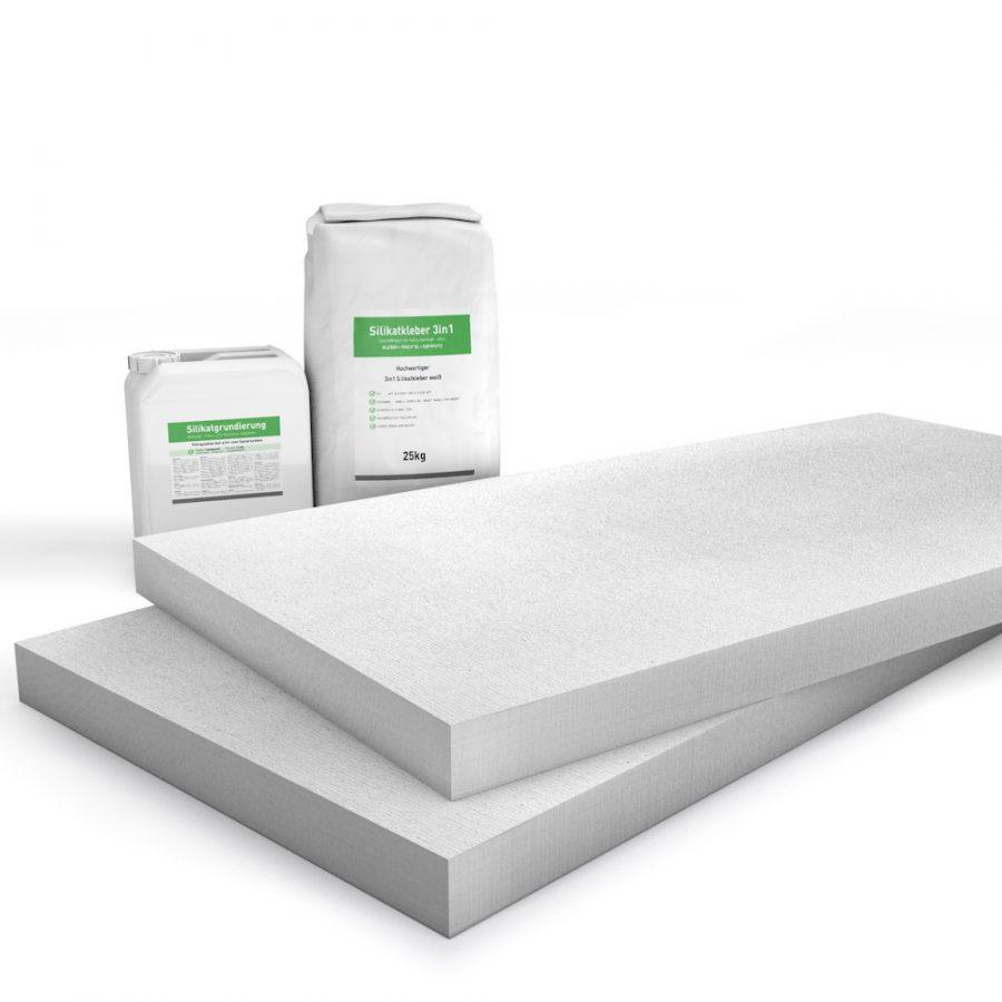 Kombi Sparpack P2 mit 50mm Kalziumsilikatplatten, Silikatgrundierung und Silikatkleber