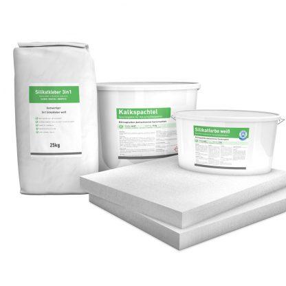 50mm Sparpack mit Kalziumsilikatplatten, Silikatkleber, Kalkspachtel & Silikatfarbe zur Innendämmung