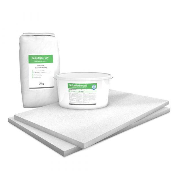 30 mm Sparpack mit vorgrundierten Kalziumsilikatplatten (1.000 mm x 625 mm), Silikatkleber & Silikatfarbe zur Innendämmung