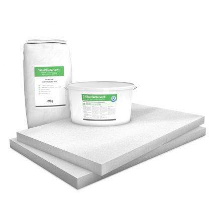 50 mm Sparpack mit vorgrundierten Kalziumsilikatplatten (1.000 mm x 625 mm), Silikatkleber & Silikatfarbe zur Innendämmung