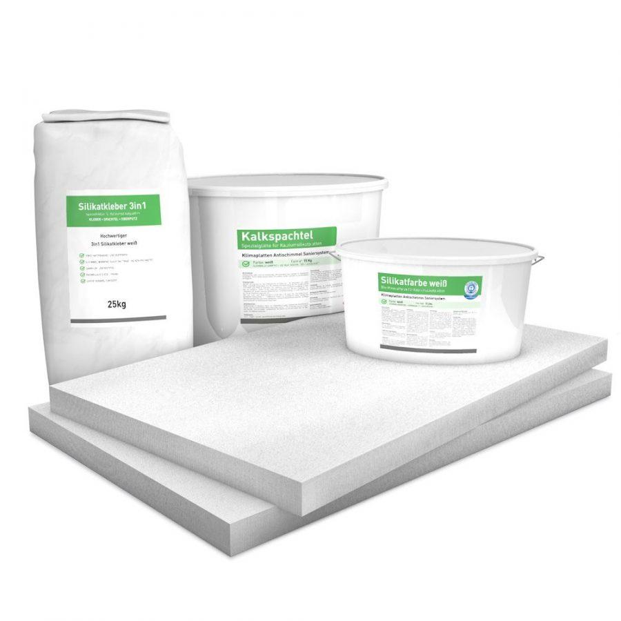 50 mm Sparpack mit vorgrundierten Kalziumsilikatplatten (1.000 mm x 625 mm), Silikatkleber, Kalkspachtel & Silikatfarbe zur Innendämmung
